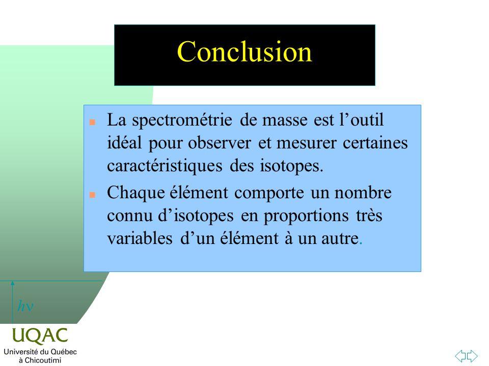 Conclusion La spectrométrie de masse est l'outil idéal pour observer et mesurer certaines caractéristiques des isotopes.