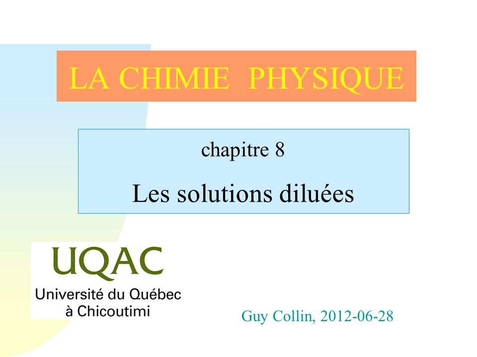 chapitre 8 Les solutions diluées