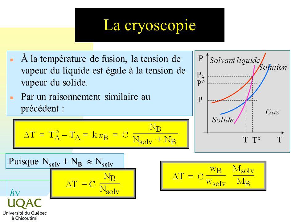 La cryoscopie À la température de fusion, la tension de vapeur du liquide est égale à la tension de vapeur du solide.