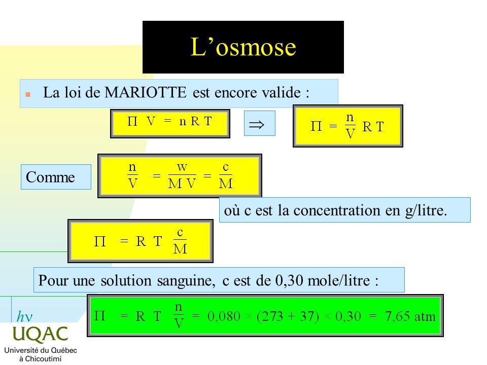 L'osmose La loi de MARIOTTE est encore valide :  Comme