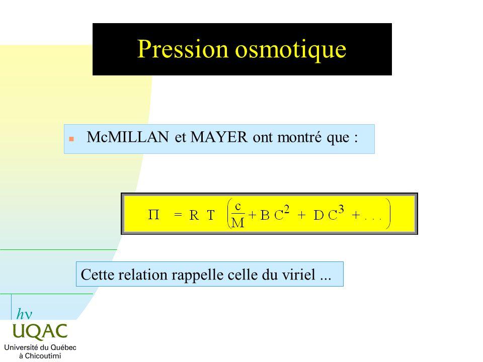 Pression osmotique McMILLAN et MAYER ont montré que :