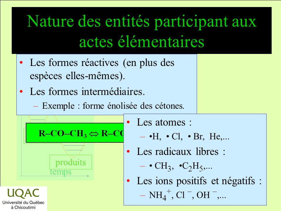 Nature des entités participant aux actes élémentaires