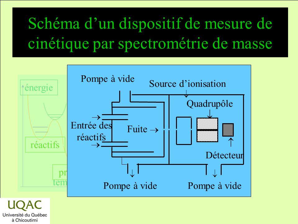 Schéma d'un dispositif de mesure de cinétique par spectrométrie de masse