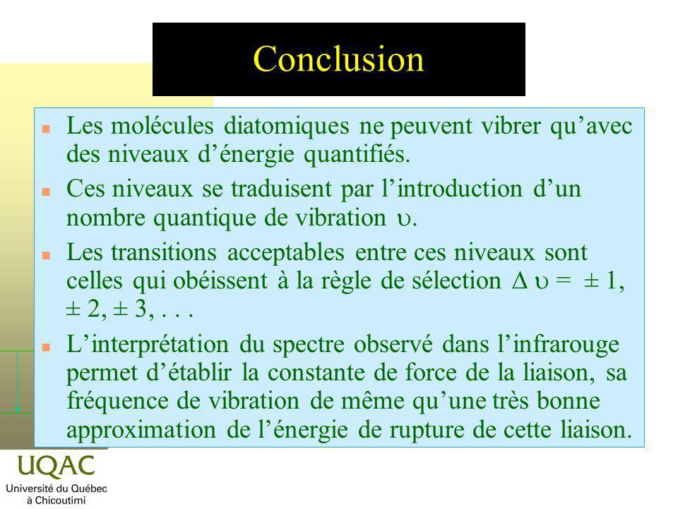 Conclusion Les molécules diatomiques ne peuvent vibrer qu'avec des niveaux d'énergie quantifiés.