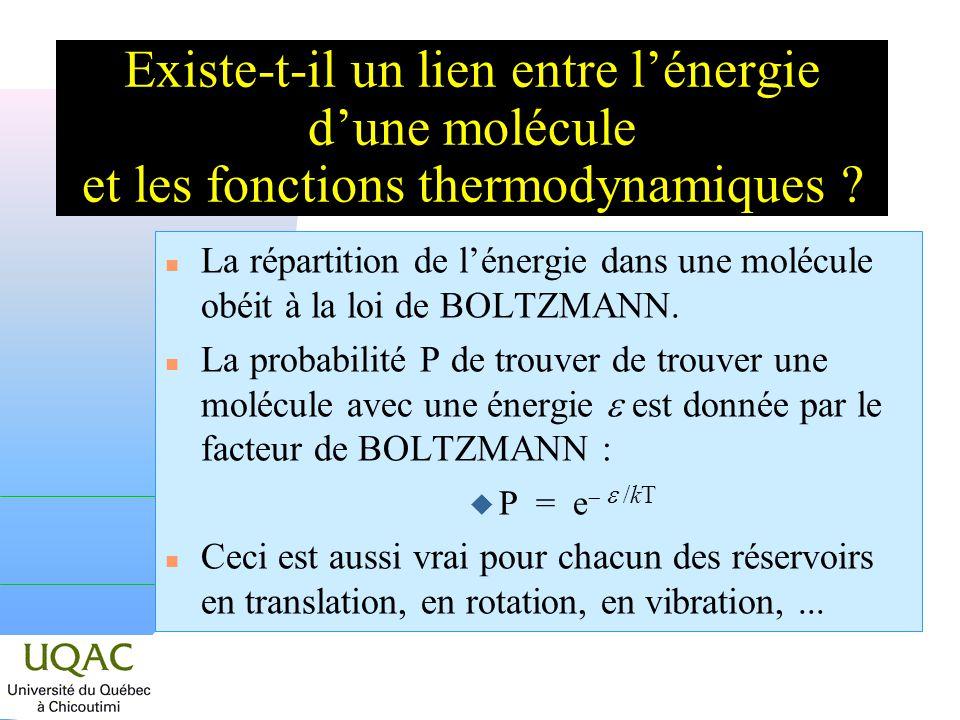 Existe-t-il un lien entre l'énergie d'une molécule et les fonctions thermodynamiques