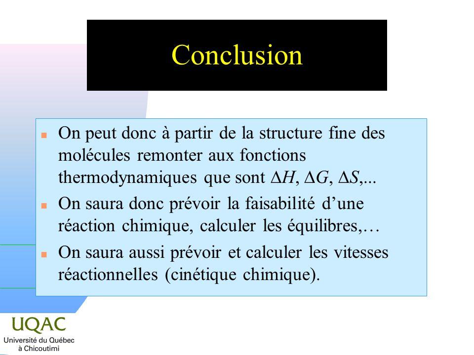 Conclusion On peut donc à partir de la structure fine des molécules remonter aux fonctions thermodynamiques que sont DH, DG, DS,...