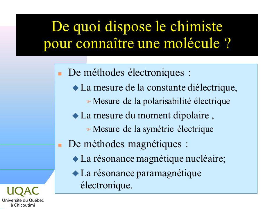 De quoi dispose le chimiste pour connaître une molécule