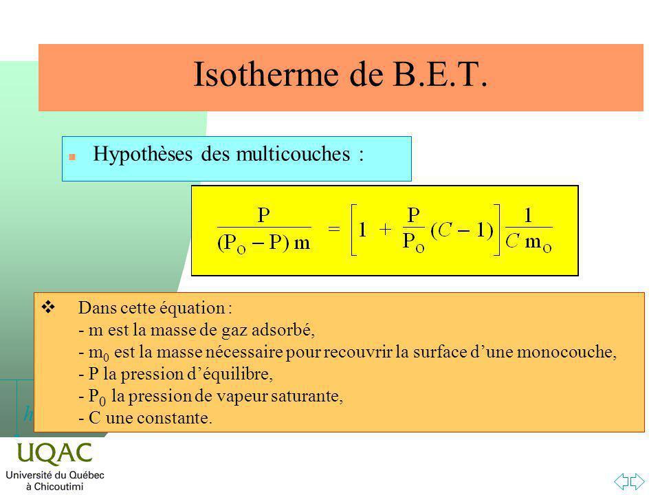 Isotherme de B.E.T. Hypothèses des multicouches :
