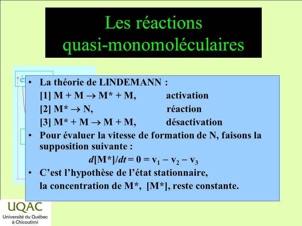 Les réactions quasi-monomoléculaires