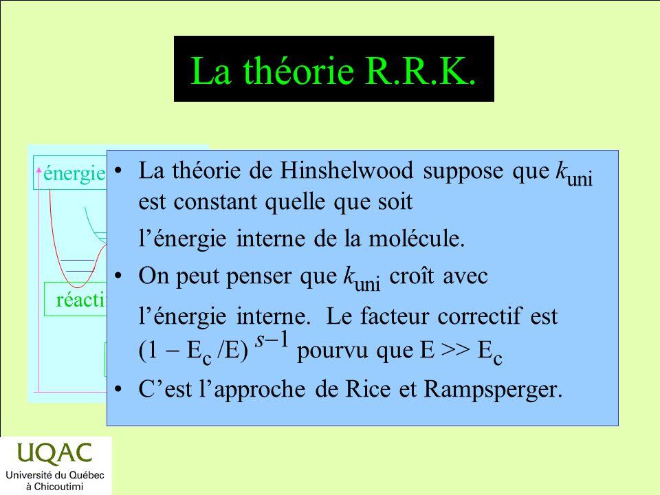 La théorie R.R.K. La théorie de Hinshelwood suppose que kuni est constant quelle que soit. l'énergie interne de la molécule.