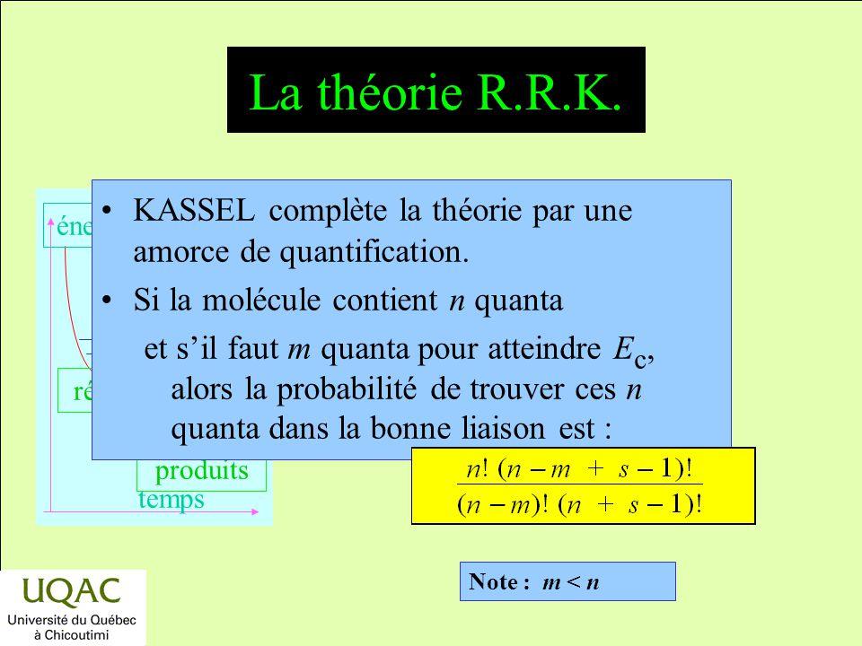 La théorie R.R.K. KASSEL complète la théorie par une amorce de quantification. Si la molécule contient n quanta.