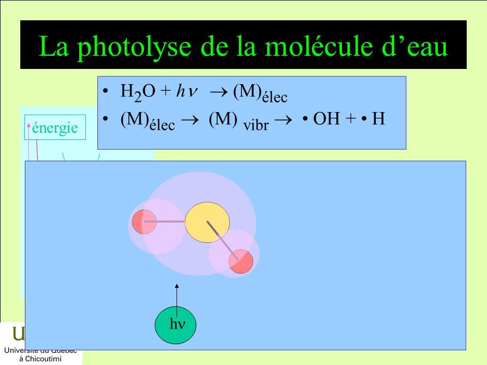 La photolyse de la molécule d'eau