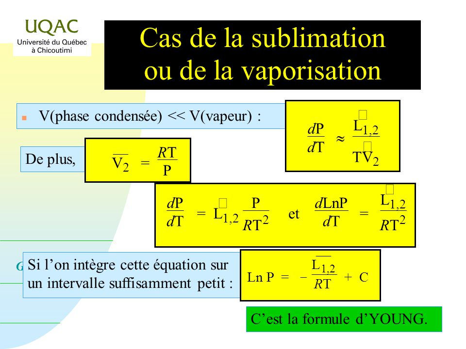 Cas de la sublimation ou de la vaporisation