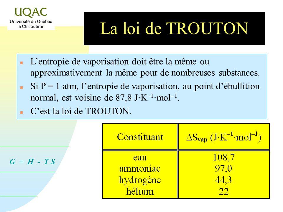 La loi de TROUTON L'entropie de vaporisation doit être la même ou approximativement la même pour de nombreuses substances.