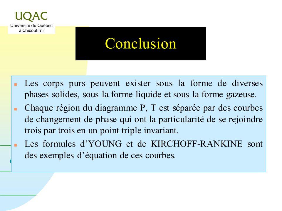 Conclusion Les corps purs peuvent exister sous la forme de diverses phases solides, sous la forme liquide et sous la forme gazeuse.