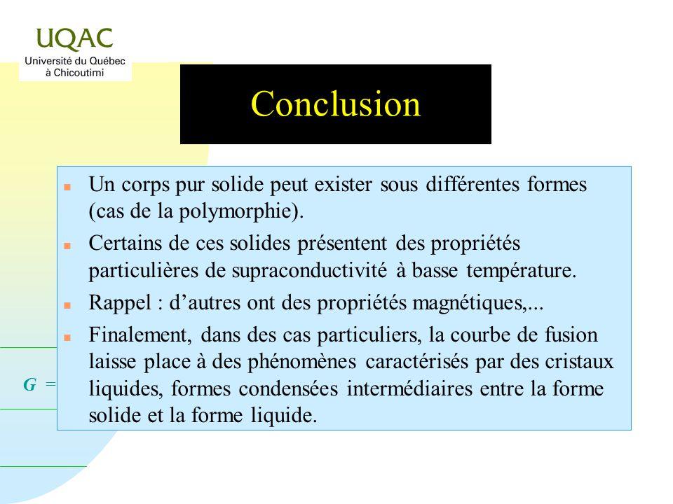 Conclusion Un corps pur solide peut exister sous différentes formes (cas de la polymorphie).