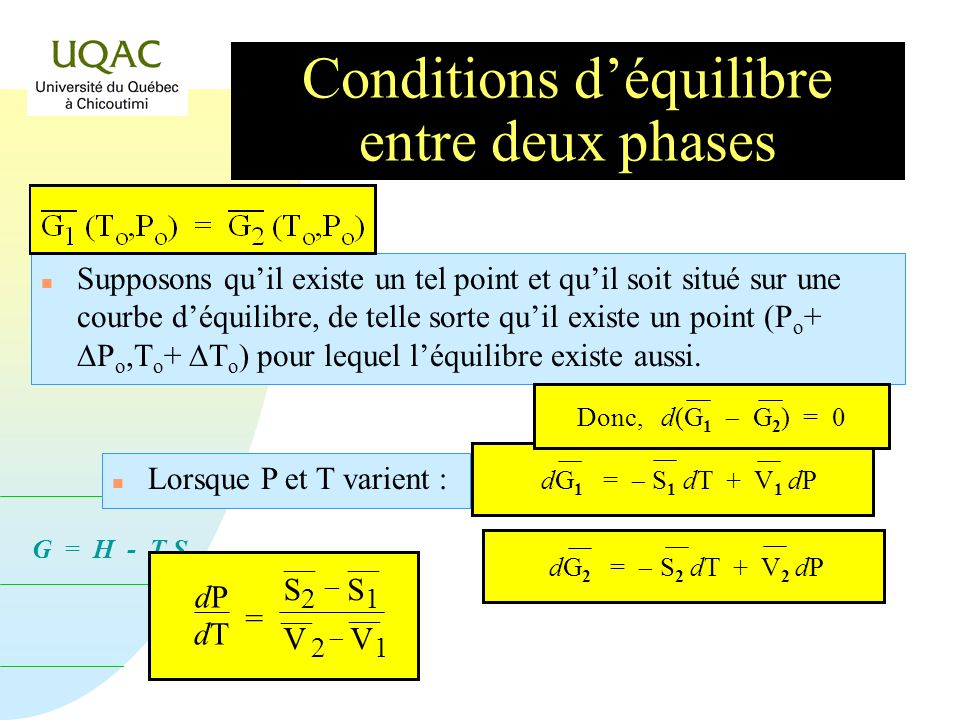 Conditions d'équilibre entre deux phases