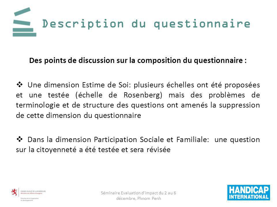 Description du questionnaire