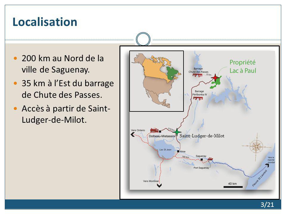Localisation 200 km au Nord de la ville de Saguenay.