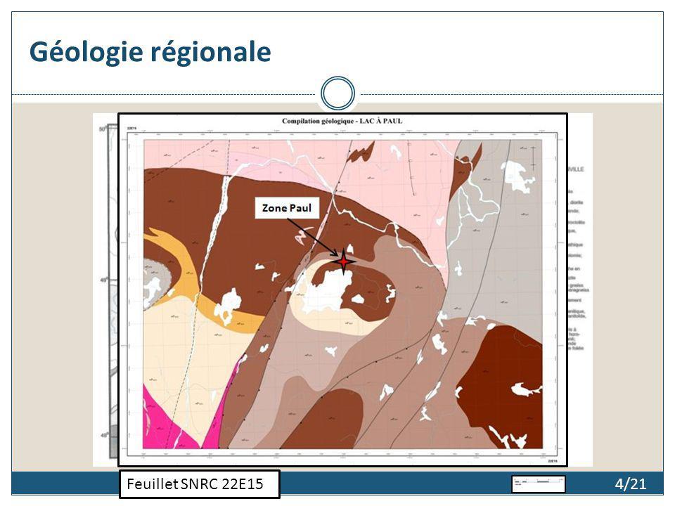 Géologie régionale Feuillet SNRC 22E15 4/21