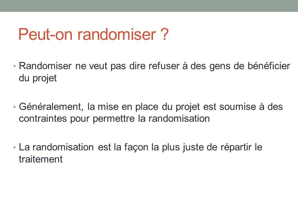 Peut-on randomiser Randomiser ne veut pas dire refuser à des gens de bénéficier du projet.