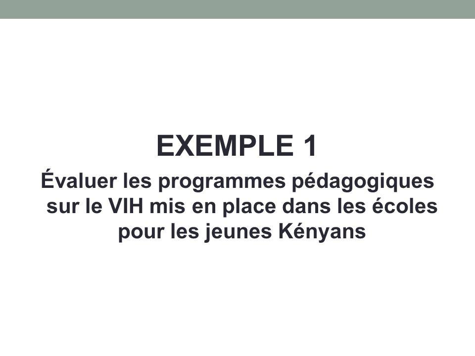 EXEMPLE 1 Évaluer les programmes pédagogiques sur le VIH mis en place dans les écoles pour les jeunes Kényans.