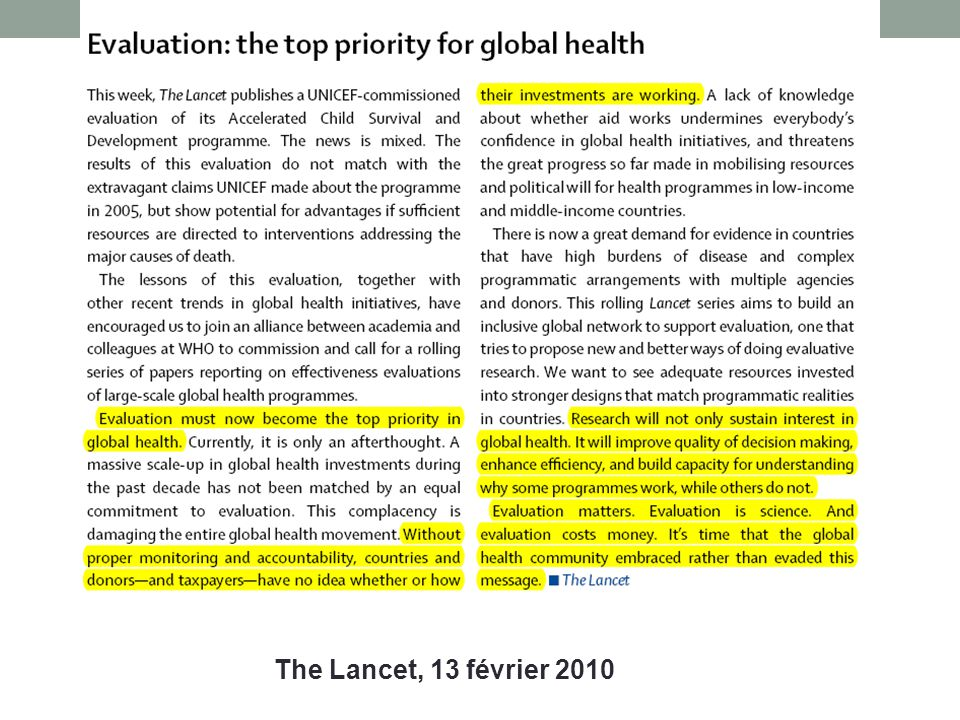 The Lancet, 13 février 2010