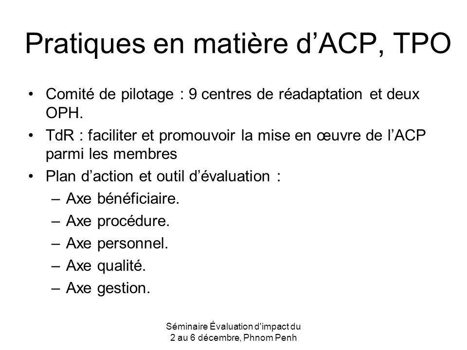 Pratiques en matière d'ACP, TPO