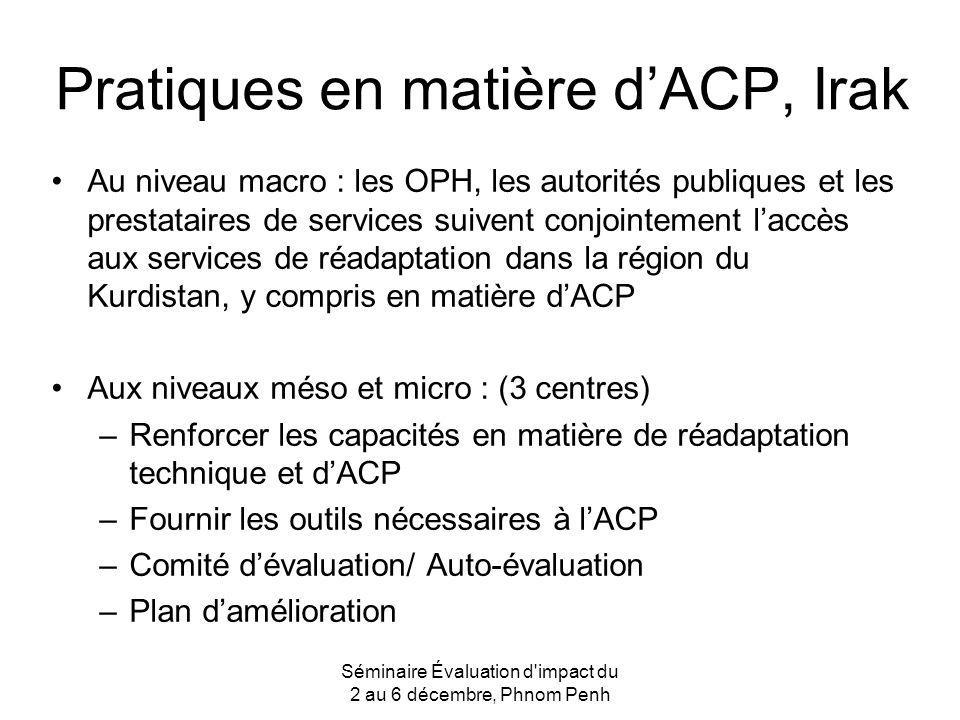 Pratiques en matière d'ACP, Irak