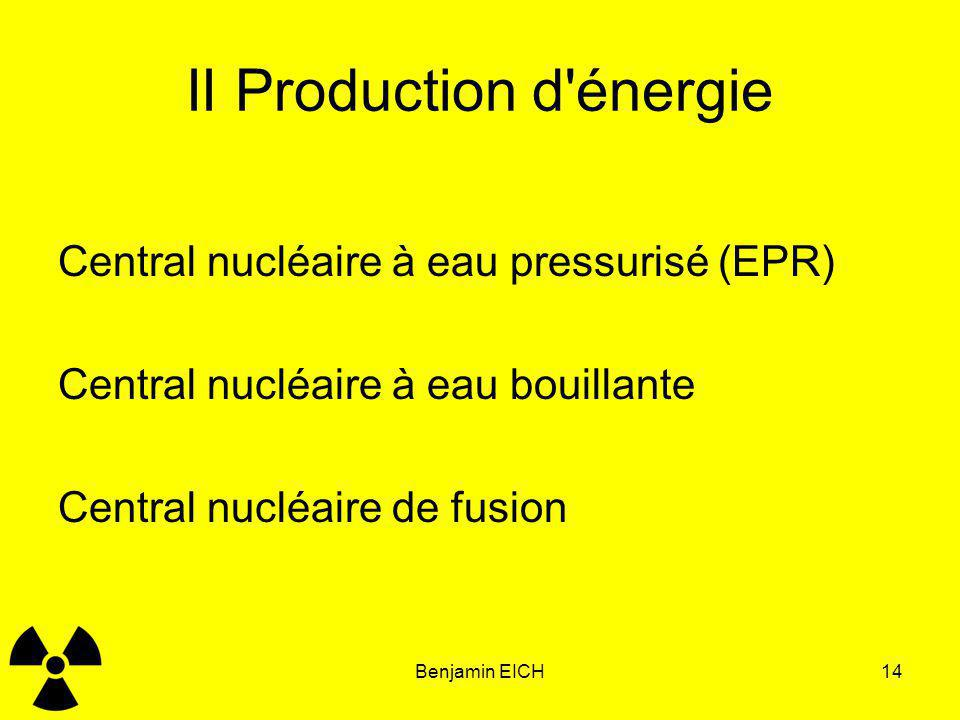II Production d énergie