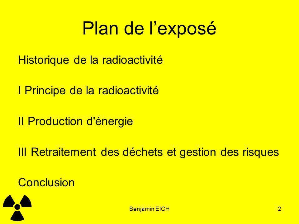 Plan de l'exposé Historique de la radioactivité