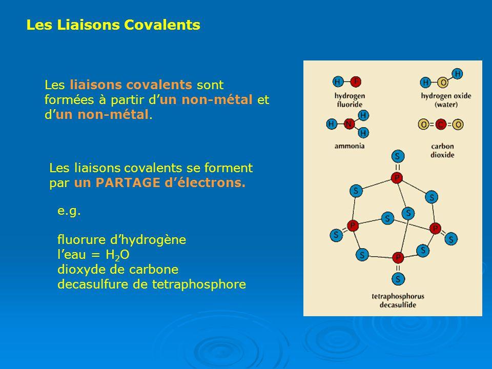 Les Liaisons Covalents