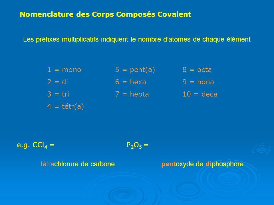 Nomenclature des Corps Composés Covalent