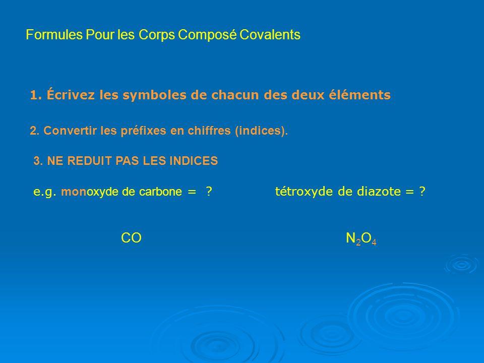 Formules Pour les Corps Composé Covalents