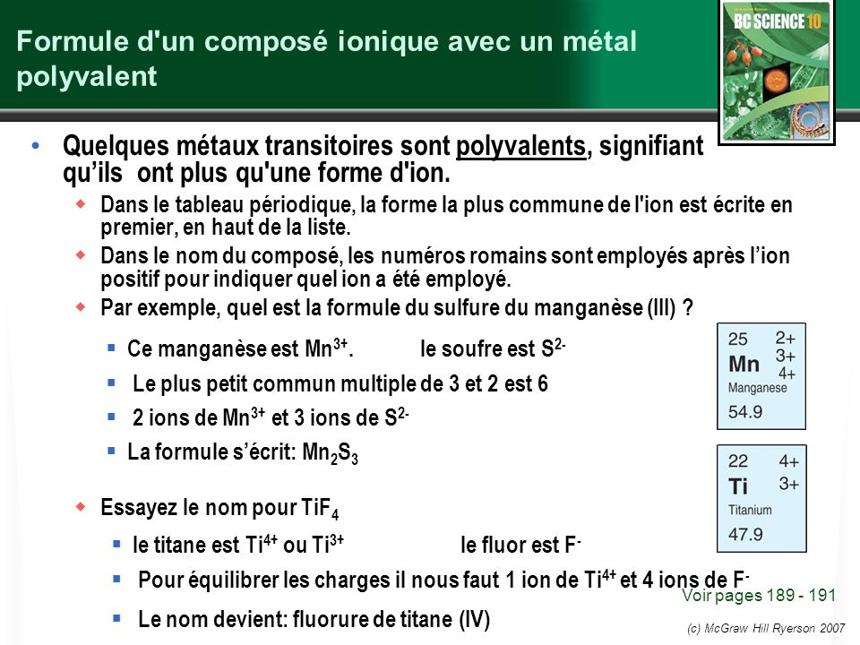 Formule d un composé ionique avec un métal polyvalent