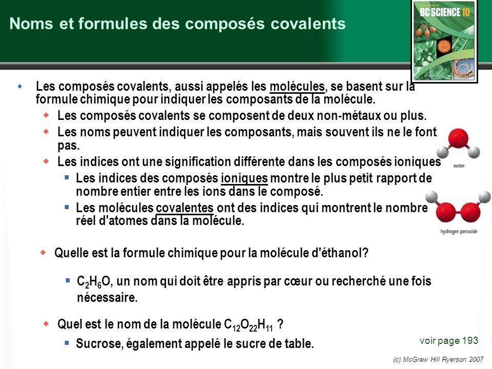Noms et formules des composés covalents