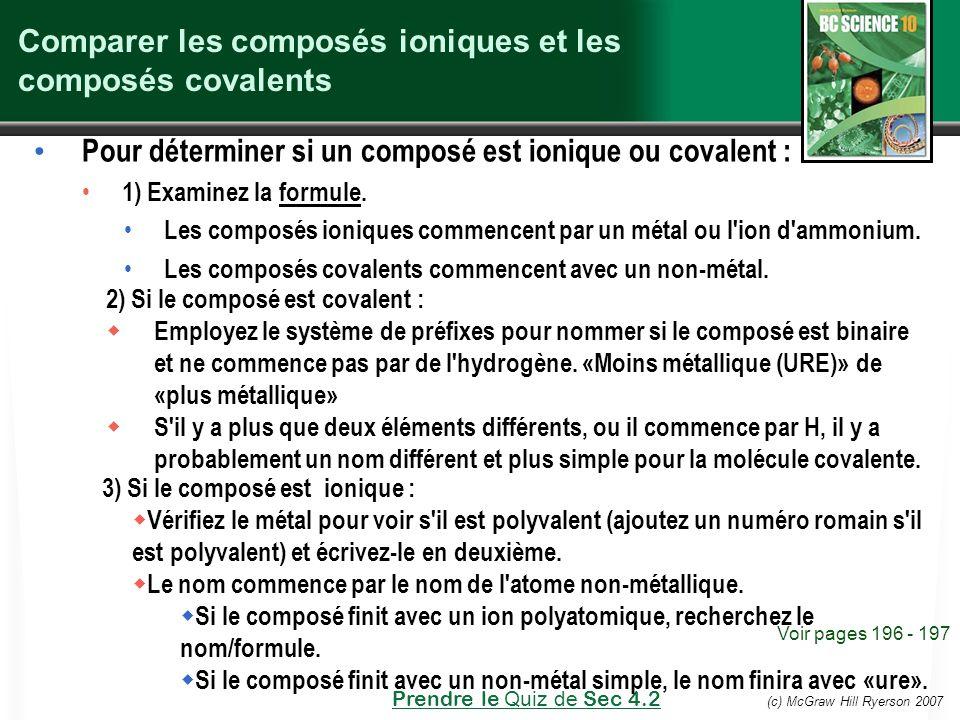 Comparer les composés ioniques et les composés covalents