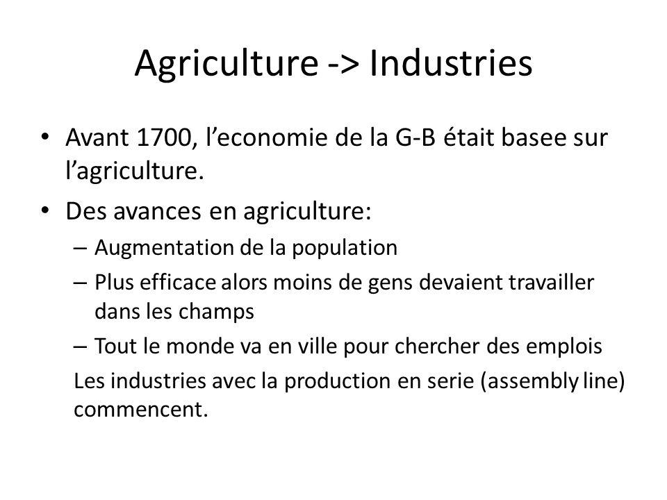 Agriculture -> Industries