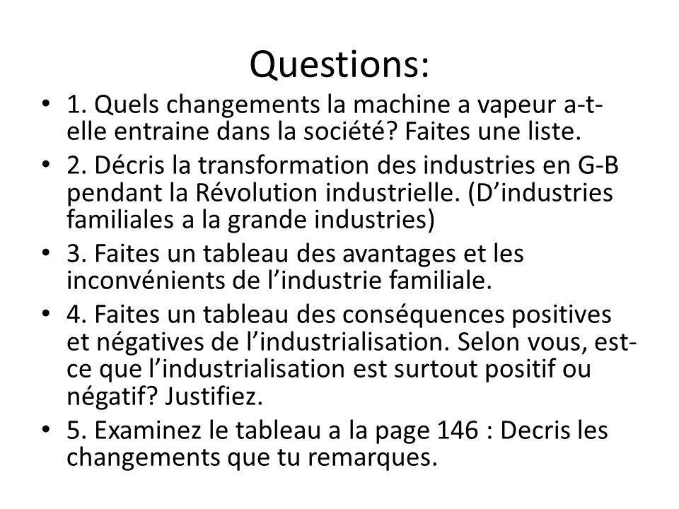 Questions: 1. Quels changements la machine a vapeur a-t-elle entraine dans la société Faites une liste.