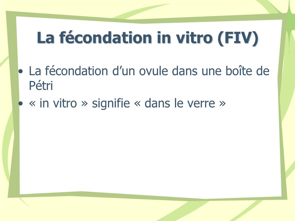 La fécondation in vitro (FIV)