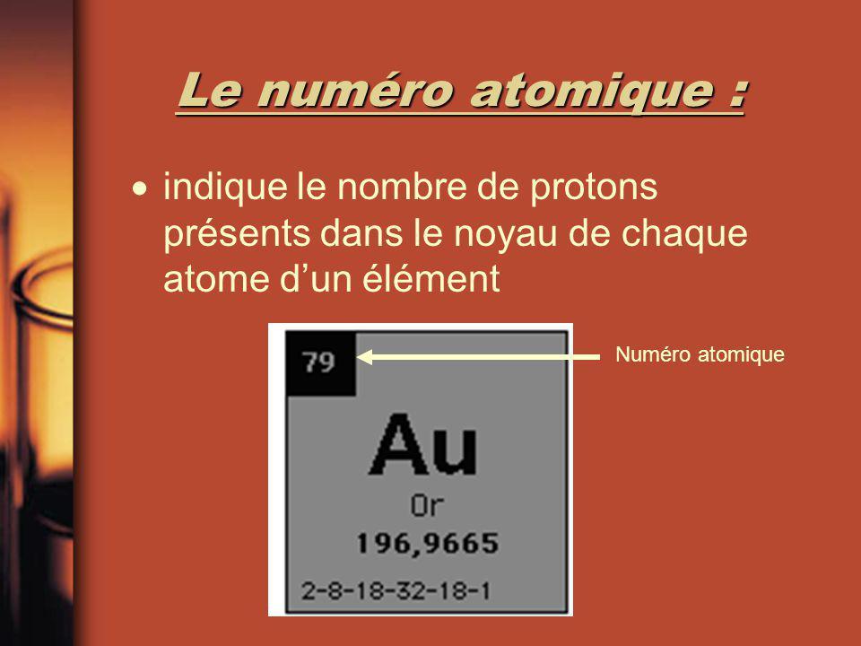 Le numéro atomique : indique le nombre de protons présents dans le noyau de chaque atome d'un élément.