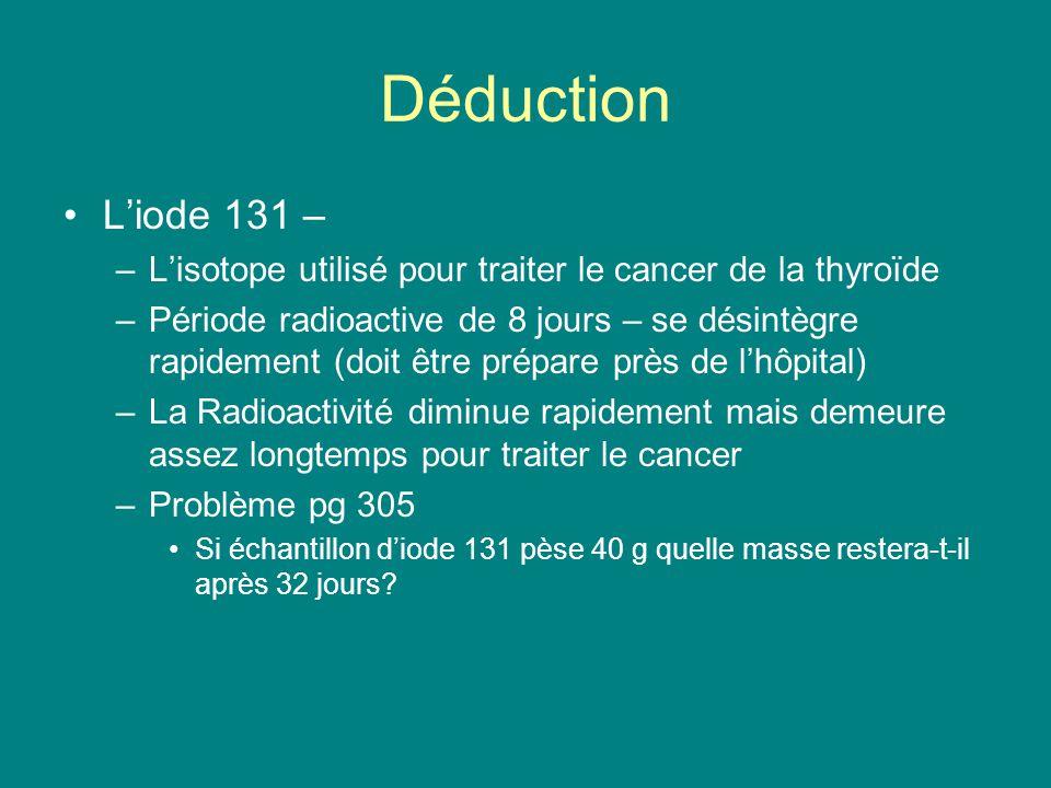 Déduction L'iode 131 – L'isotope utilisé pour traiter le cancer de la thyroïde.