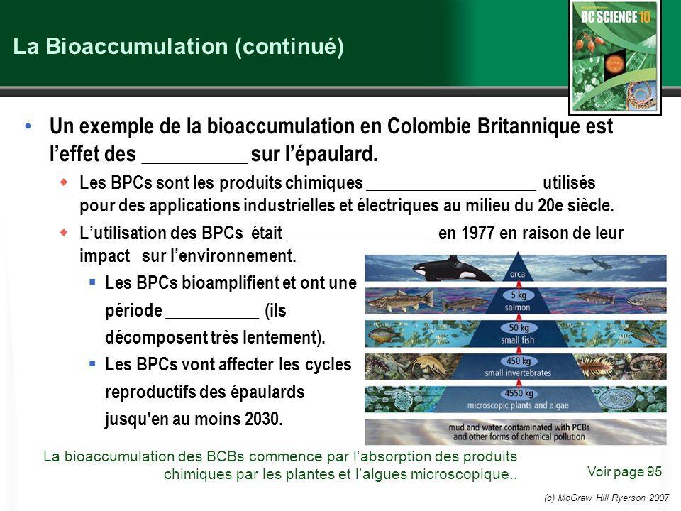 La Bioaccumulation (continué)