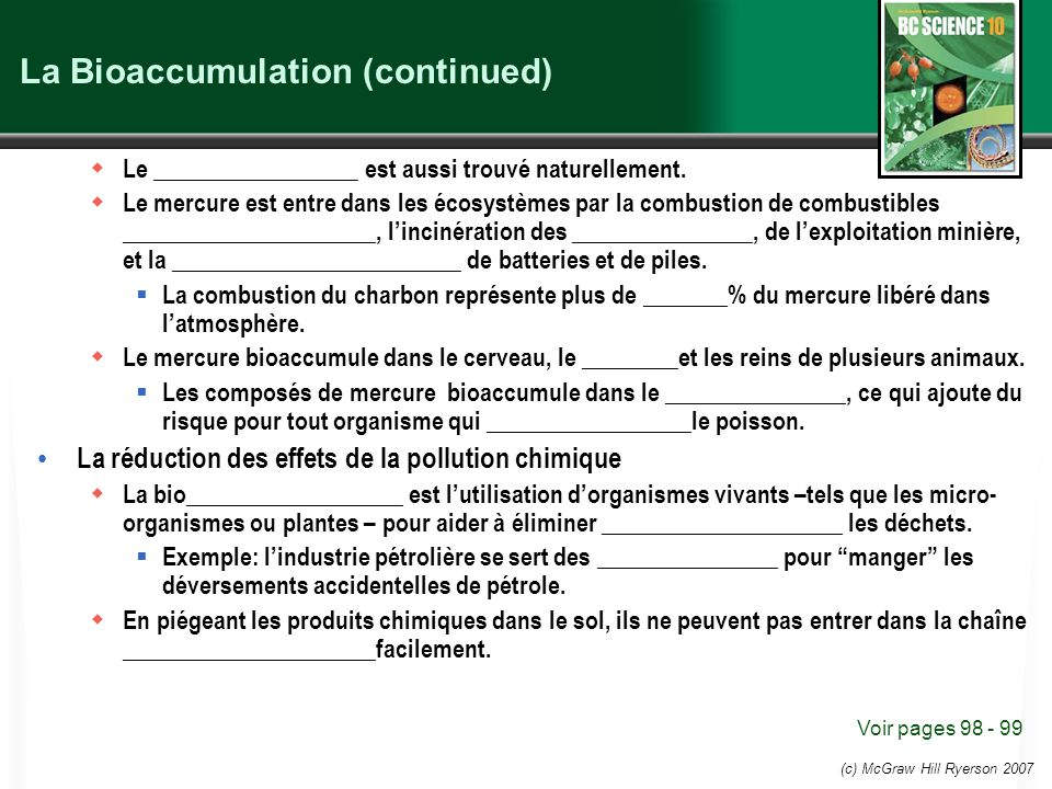La Bioaccumulation (continued)