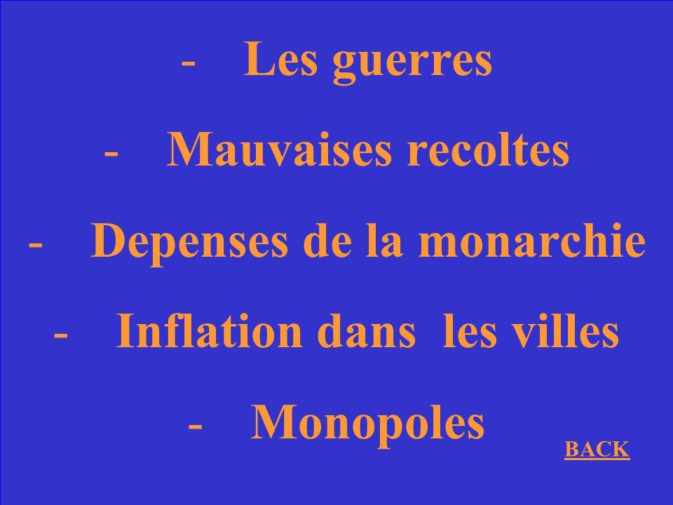 Depenses de la monarchie Inflation dans les villes