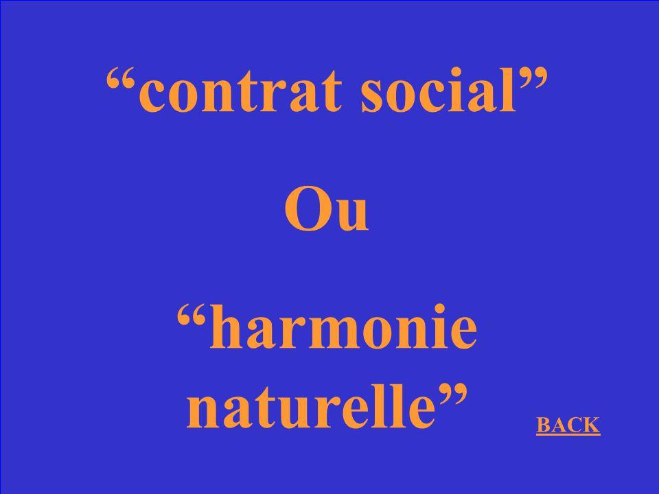 contrat social Ou harmonie naturelle