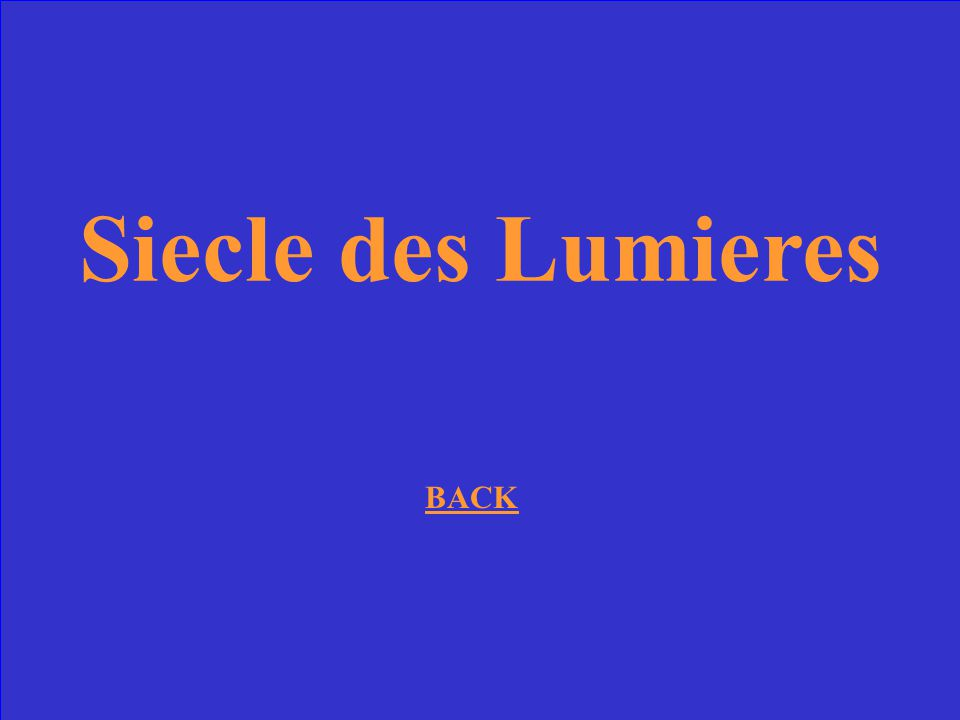 Siecle des Lumieres BACK