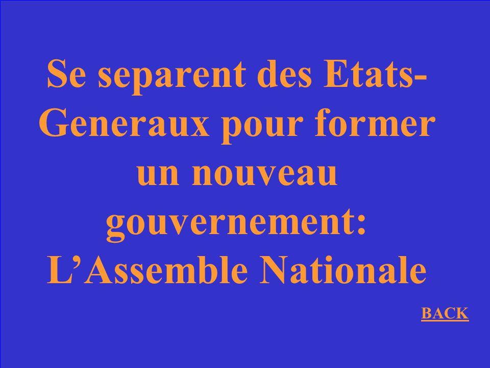 Se separent des Etats-Generaux pour former un nouveau gouvernement: L'Assemble Nationale