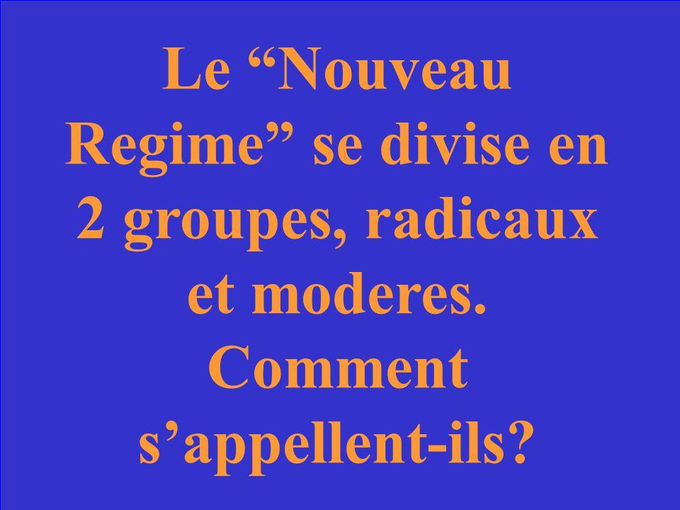 Le Nouveau Regime se divise en 2 groupes, radicaux et moderes
