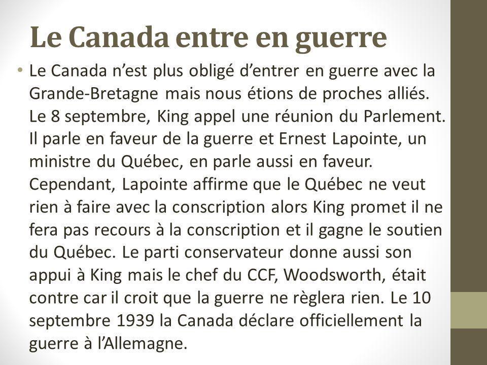 Le Canada entre en guerre